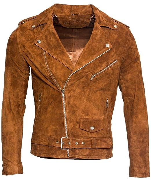 online retailer 1025f c98aa Giacca da Motociclista da Uomo in Pelle Scamosciata Marrone Abbronzatura  Chiaro