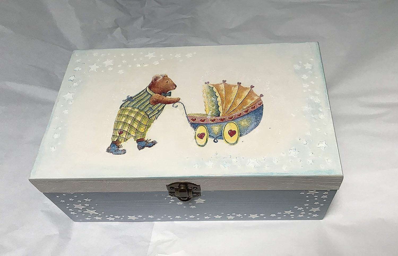 caja madera para bebe decorada a mano, para regalar o accesorios