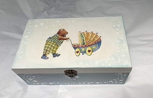 caja madera para bebe decorada a mano, para regalar o accesorios ...