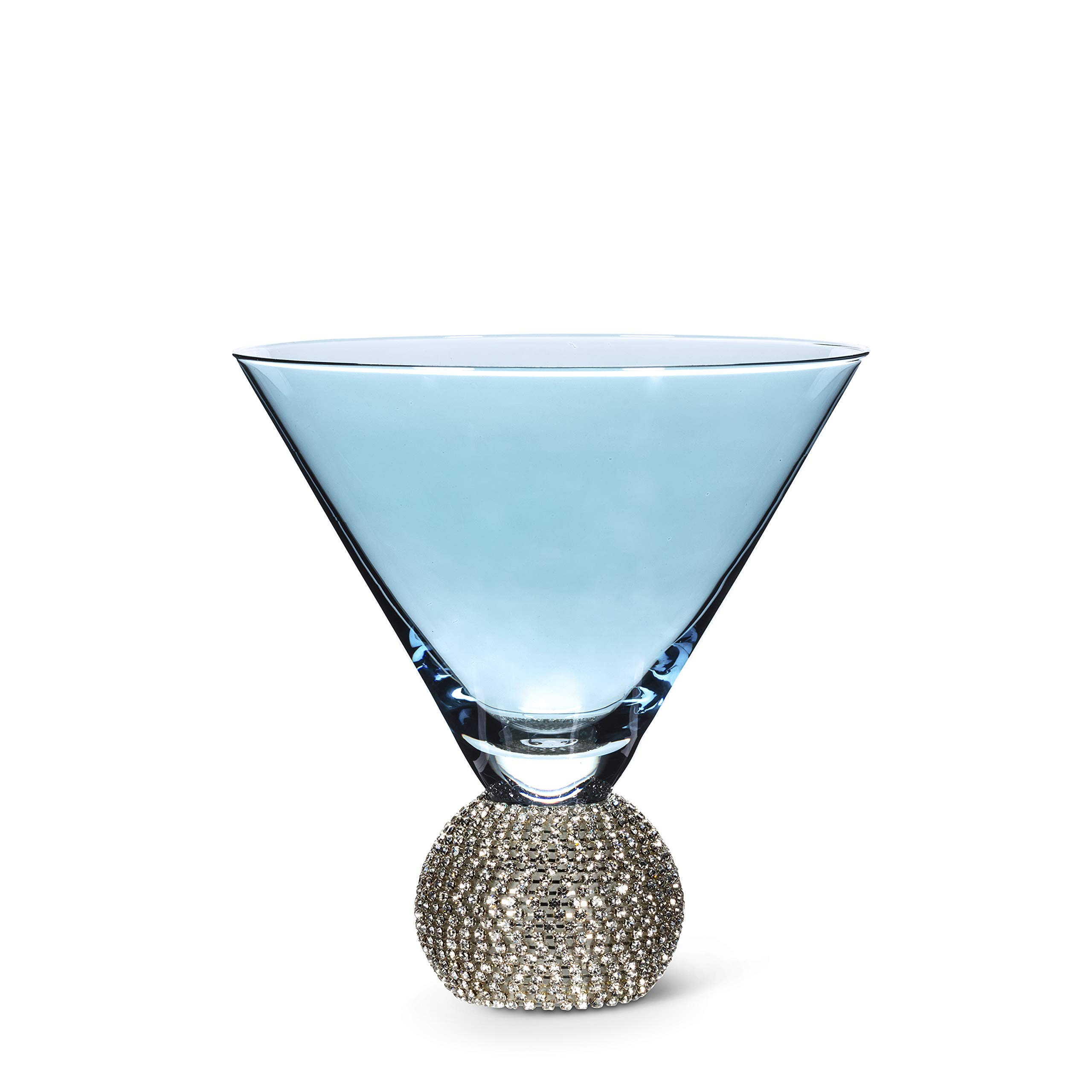 Abbott Collection 27-GLAM-MART Blue VShape Martini w/Gems-5''(10oz) 5 inches high