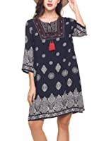 Elesol Women Vintage 3 4 Sleeve Bohemian Beach Ethnic Printed Loose Tunic Dress