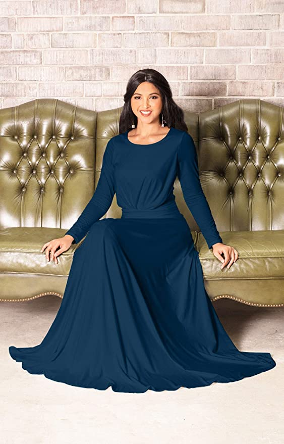5178dff397a KOH KOH Sleeve Flowy Empire Waist Fall Winter Party Gown at Amazon Women s  Clothing store  Long Sleeve Maxi Dress Black