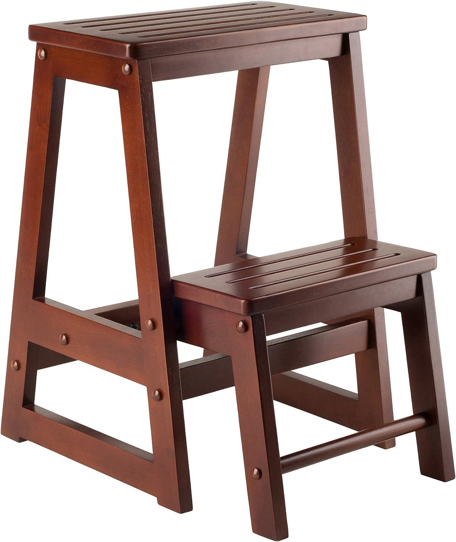 Amazon Com Winsome Wood Ww Stool Antique Walnut Furniture Decor