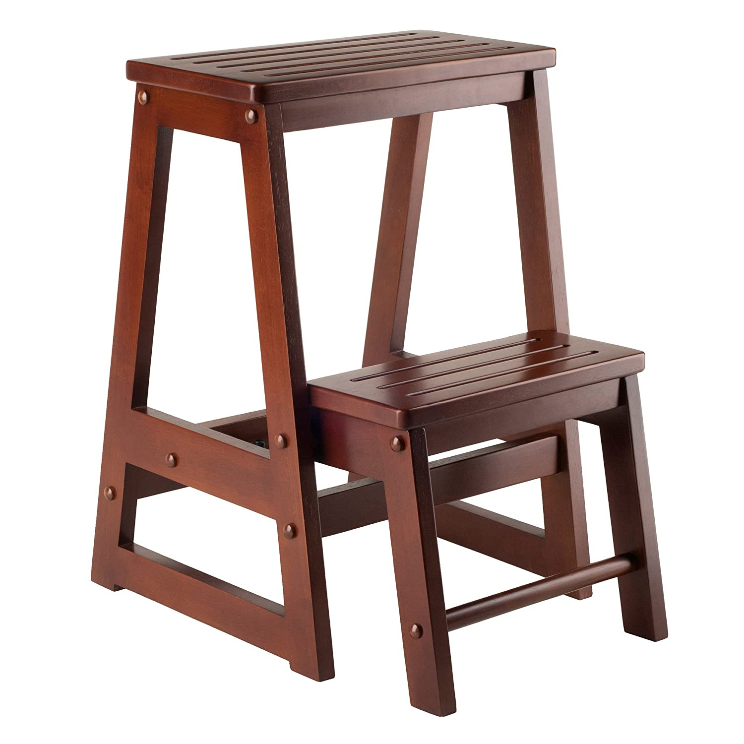 amazon com winsome wood step stool antique walnut kitchen dining rh amazon com step stools for kitchen cabinets small step stool for kitchen