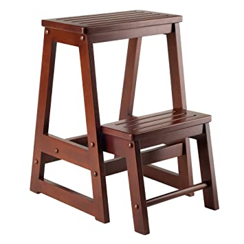 Winsome Wood Step Stool Antique Walnut  sc 1 st  Amazon.com & Amazon.com: Winsome Wood Step Stool Antique Walnut: Kitchen u0026 Dining islam-shia.org