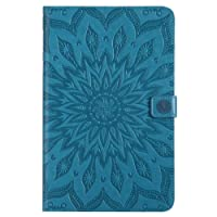 Samsung Galaxy Tab E 9.6 inch Case, BONROY® Retro Sunflower Relief Pattern Ultra Slim Lightweight Smart Case Stand Cover with Auto Sleep/Wake Function, Quality PU Leather Finish & Microfibre Inner, Black Hard Back Cover for Samsung Galaxy Tab E SM-T560 9.6 - Blue