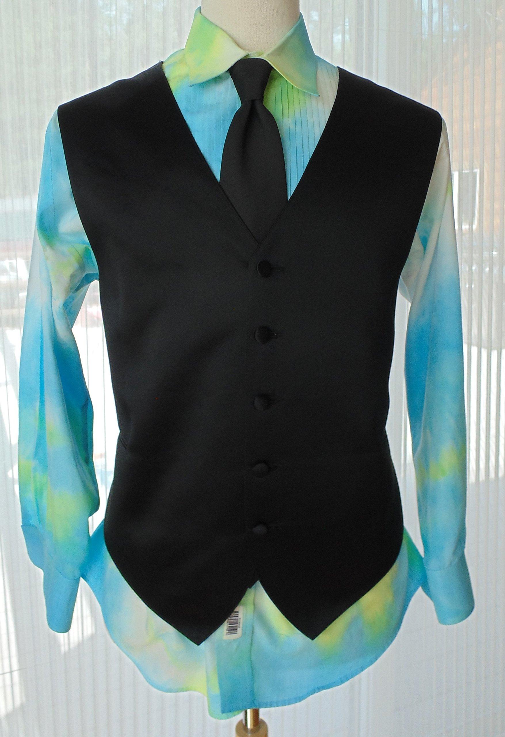 Men's L 32-33 Hand Tie Dye Tuxedo Shirt