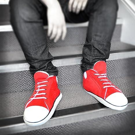 78358498f0e4 Hi-Top Men s Red Slippers (fit up to a UK size 10 )  Amazon.co.uk  Kitchen    Home