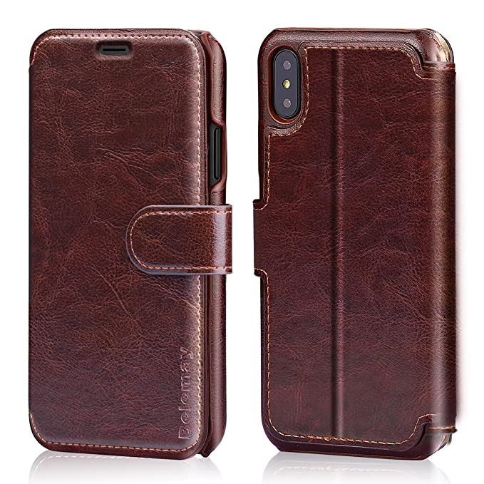premium selection bcca9 de8ed Belemay iPhone X Wallet Case, iPhone 10 Case, Genuine Leather Wallet Case,  Flip Folio Book Cover, Card Holder Slots, Kickstand, Magnetic Clousure, ...