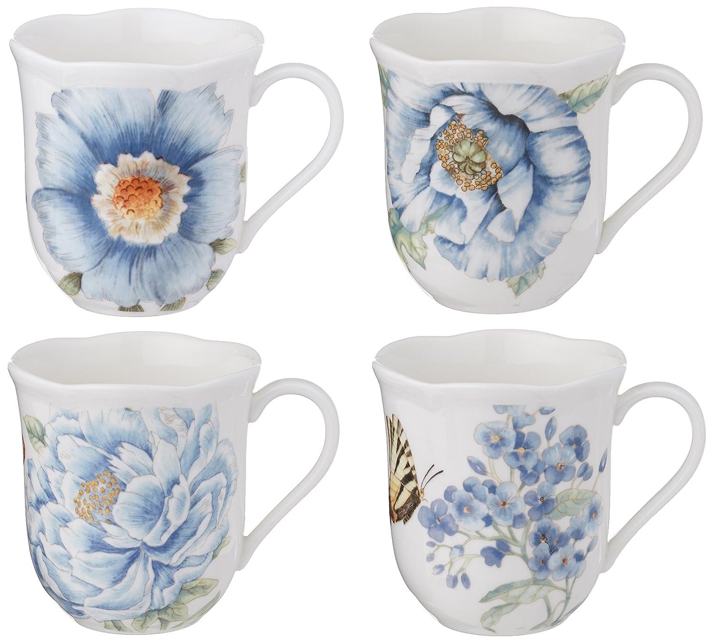 Lenox Butterfly Meadow Assorted Blue Mug, Set of 4, White - 833418