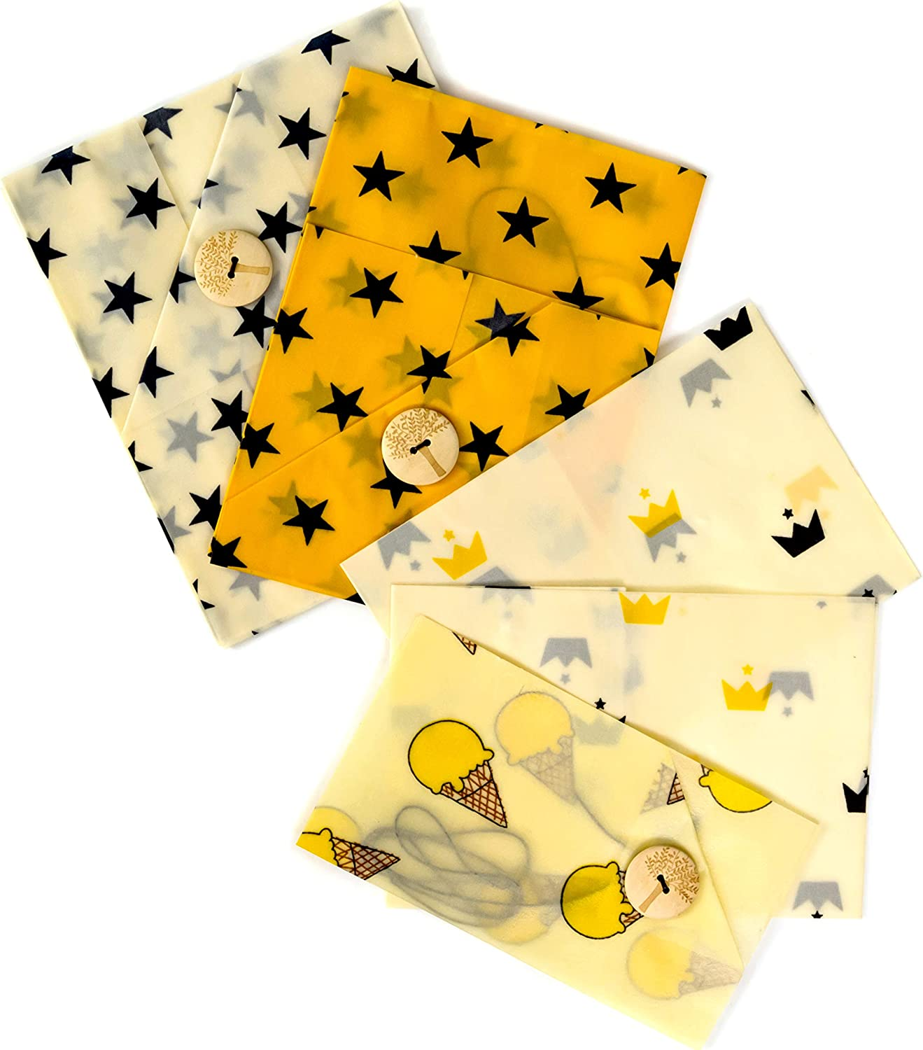 Reusable Beeswax Food Wrap (5 Pack) – Bread, Sandwich & Cheese Wraps | Biodegradable, Sustainable, Eco-Friendly Food Storage Wrap by Lemon Tree | 100% Plastic Free Organic Food Wrap, Easy-Seal Button