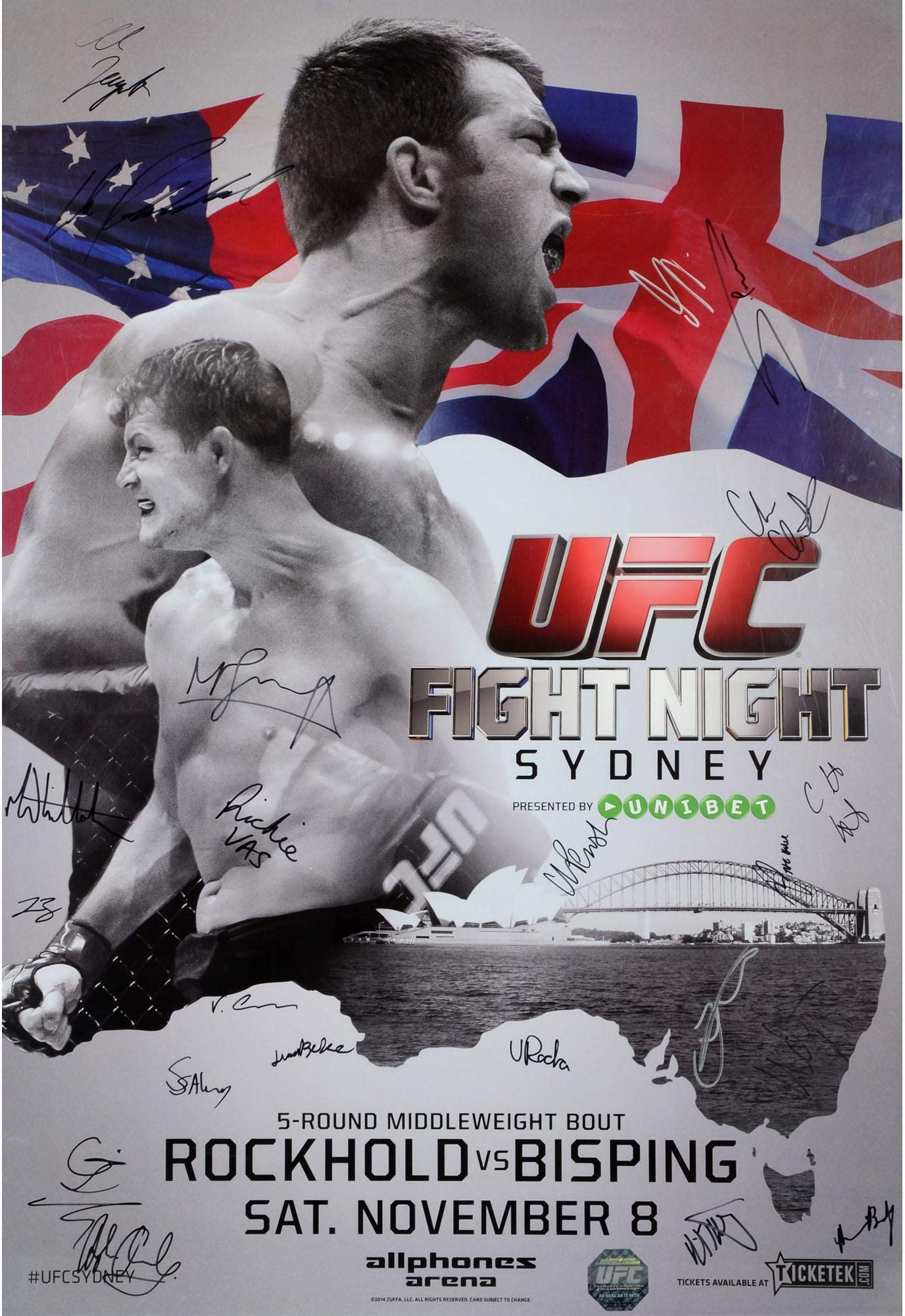 """UFC Fight Night 55 Rockhold vs. Bisping Autographed 27"""" x 39"""" 22 Signature Event Poster Fanatics Authentic Certified"""