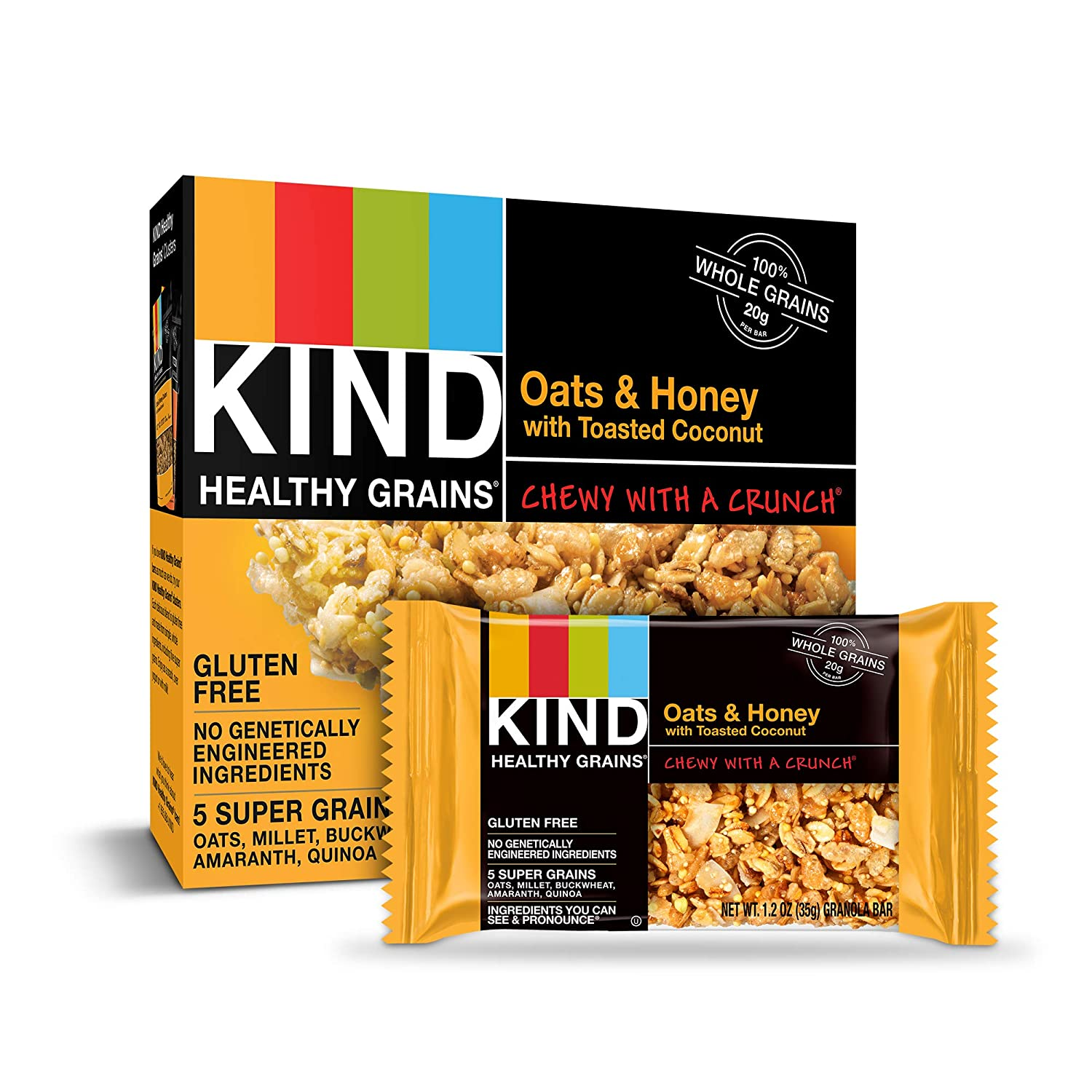 KIND Healthy Grains Bars, Oats & Honey with Toasted Coconut, Gluten Free, 1.2 Ounce, 40 Count