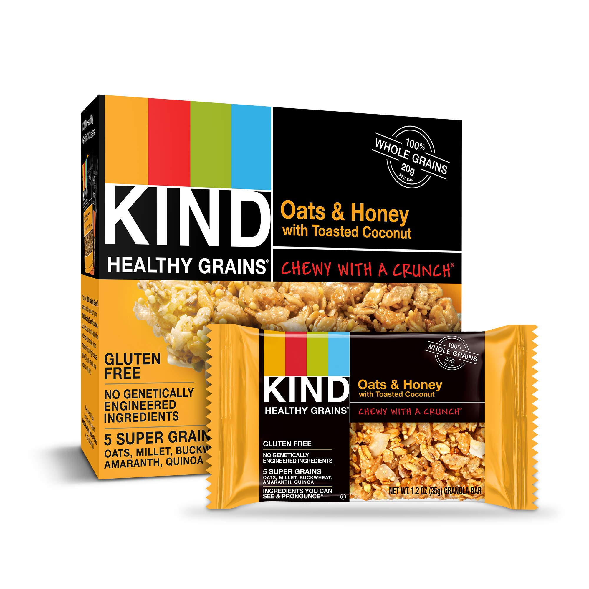KIND Healthy Grains Granola Bars, Oats & Honey with Toasted Coconut, Gluten Free, 1.2 oz, 30 Count by KIND (Image #1)