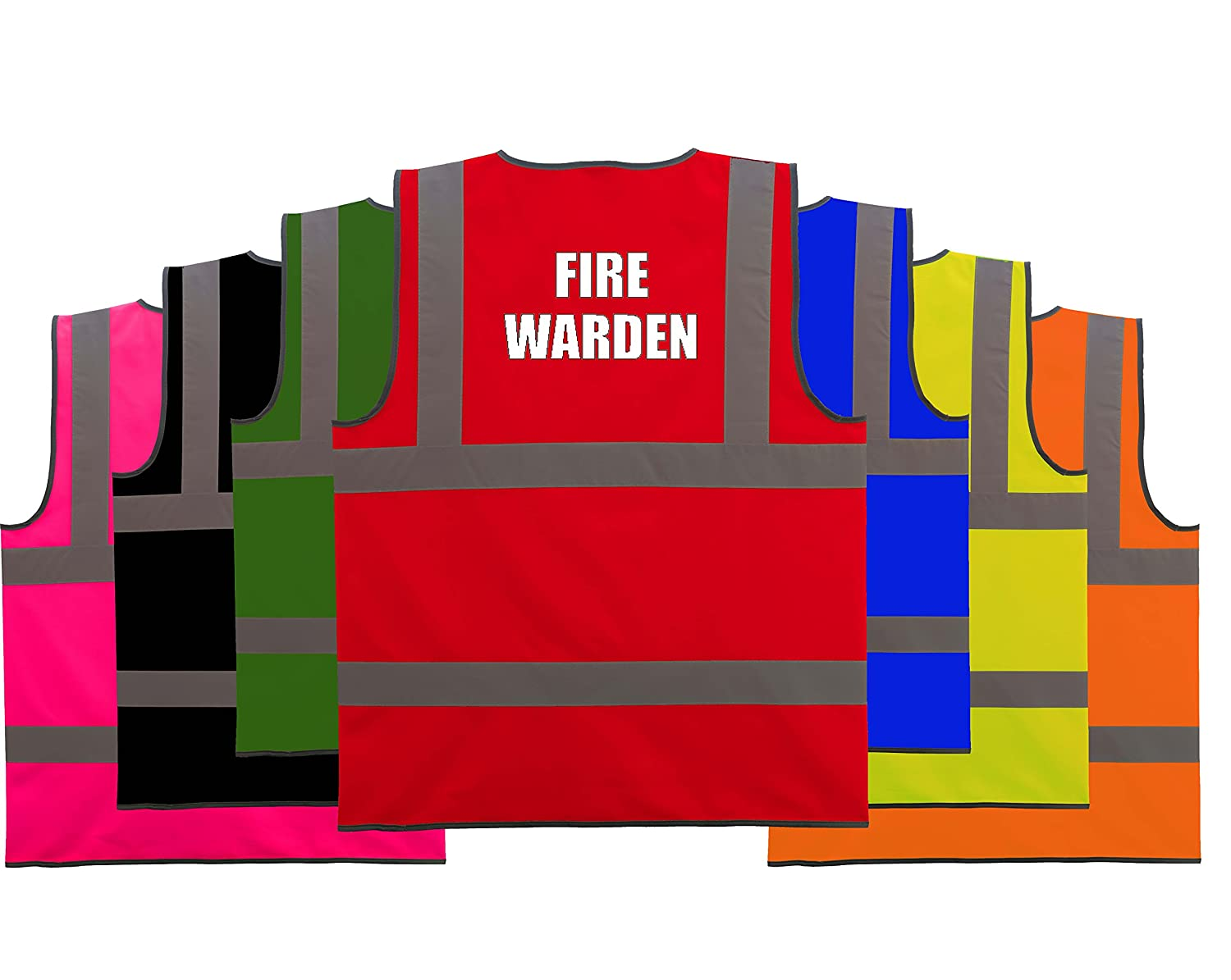 Fire Warden White Text Safety Hi Vis High Visibility Safety Protection Velcro Fastening Vest
