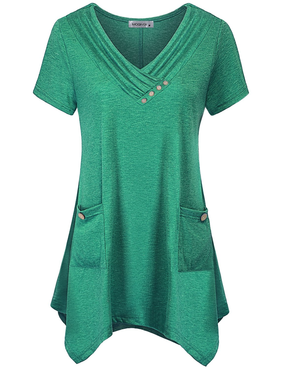 MOQIVGI Professional Blouses for Women,Misses Tops Office wear Ladies Short Sleeve V Neck Uneven Hem Semi-Formal Tops Embellished Button Elegant Dressy Latest Tunic Shirts Green Medium