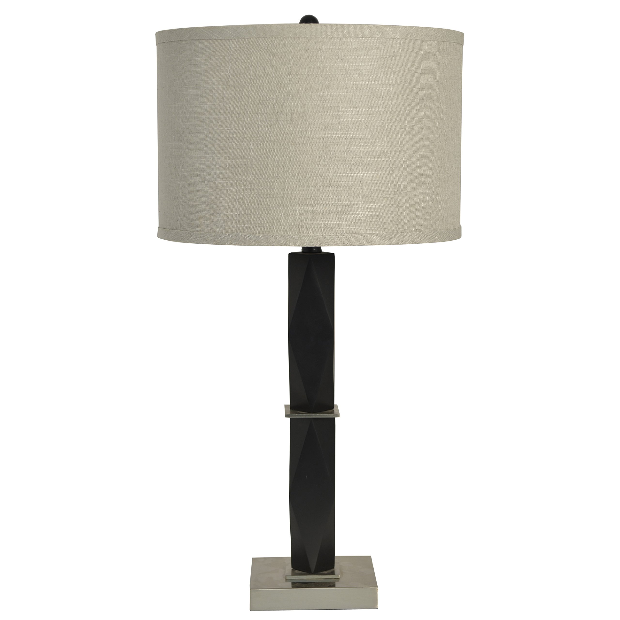 Décor Therapy TL14105 Square Matte Black Table Lampmatte Black & Brushed Steel