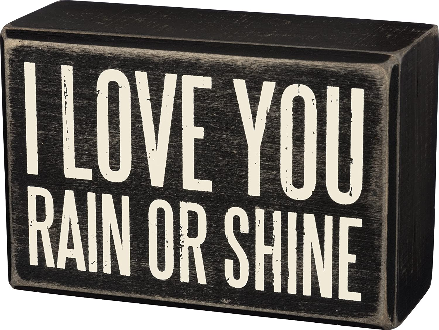 Primitives by Kathy Box Sign, 3 by 3-Inch, I Love You 23238