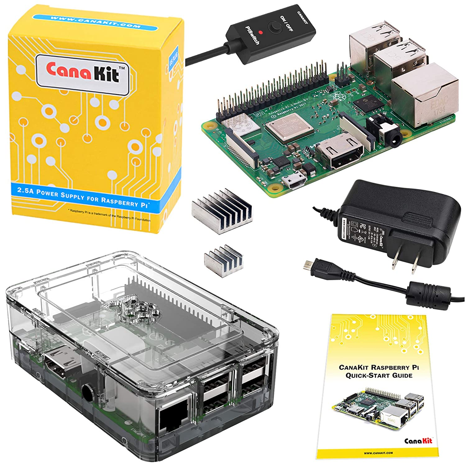 CanaKit Raspberry Pi 3 B+ (B Plus) with Premium Clear Case and 2 5A Power  Supply