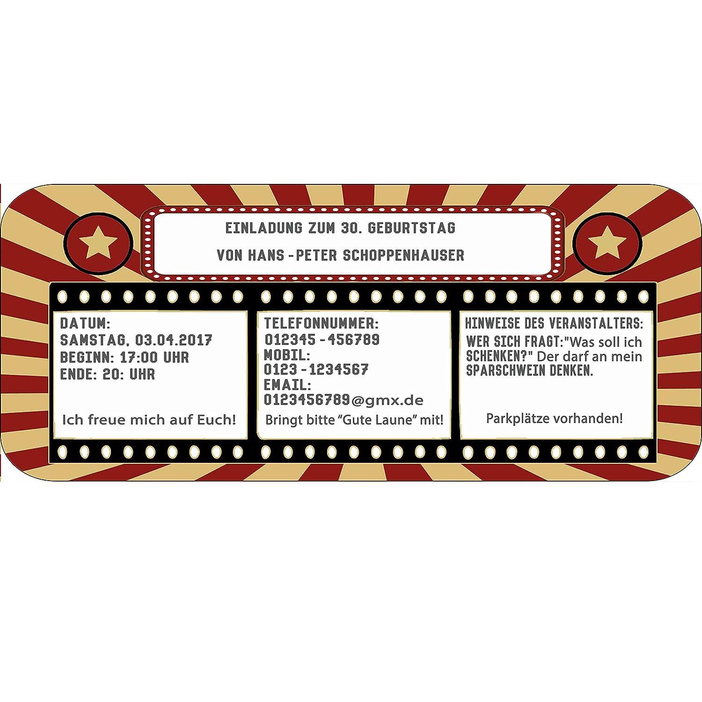 Einladungskarten als Kinokarte Geburtstag Party Feier Kindergeburtstag B00NU3PAHM | | | Starke Hitze- und Hitzebeständigkeit  aff6c5