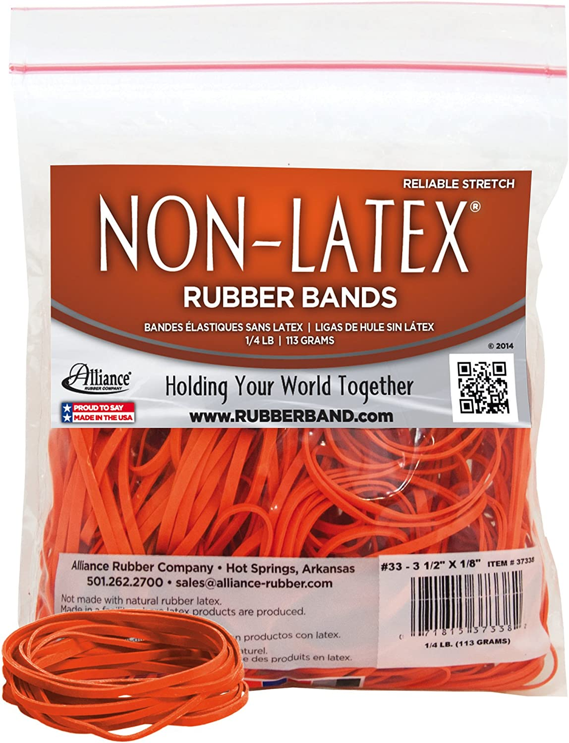 "Alliance Rubber 37338#33 Non-Latex Rubber Bands, 1/4 lb Poly Bag Contains Approx. 180 Bands (3 1/2"" x 1/8"", Orange)"