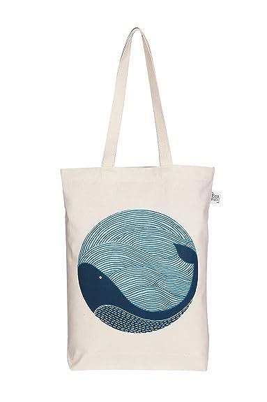 EcoRight Women s Canvas Ecofriendly Gusset Tote Bag  quot Whale  Doodle quot  ... fcc36b70d0