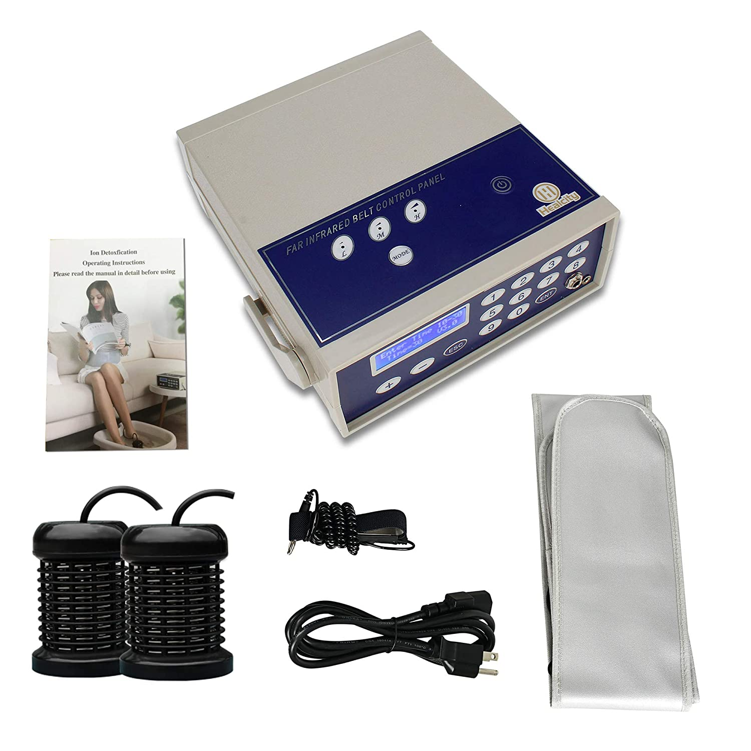 Ionic Detox Foot Bath Machine System Holiday Gift Negative Hydrogen by Healcity with Far Infrared Belt, Two Ion Cleanse Arrays