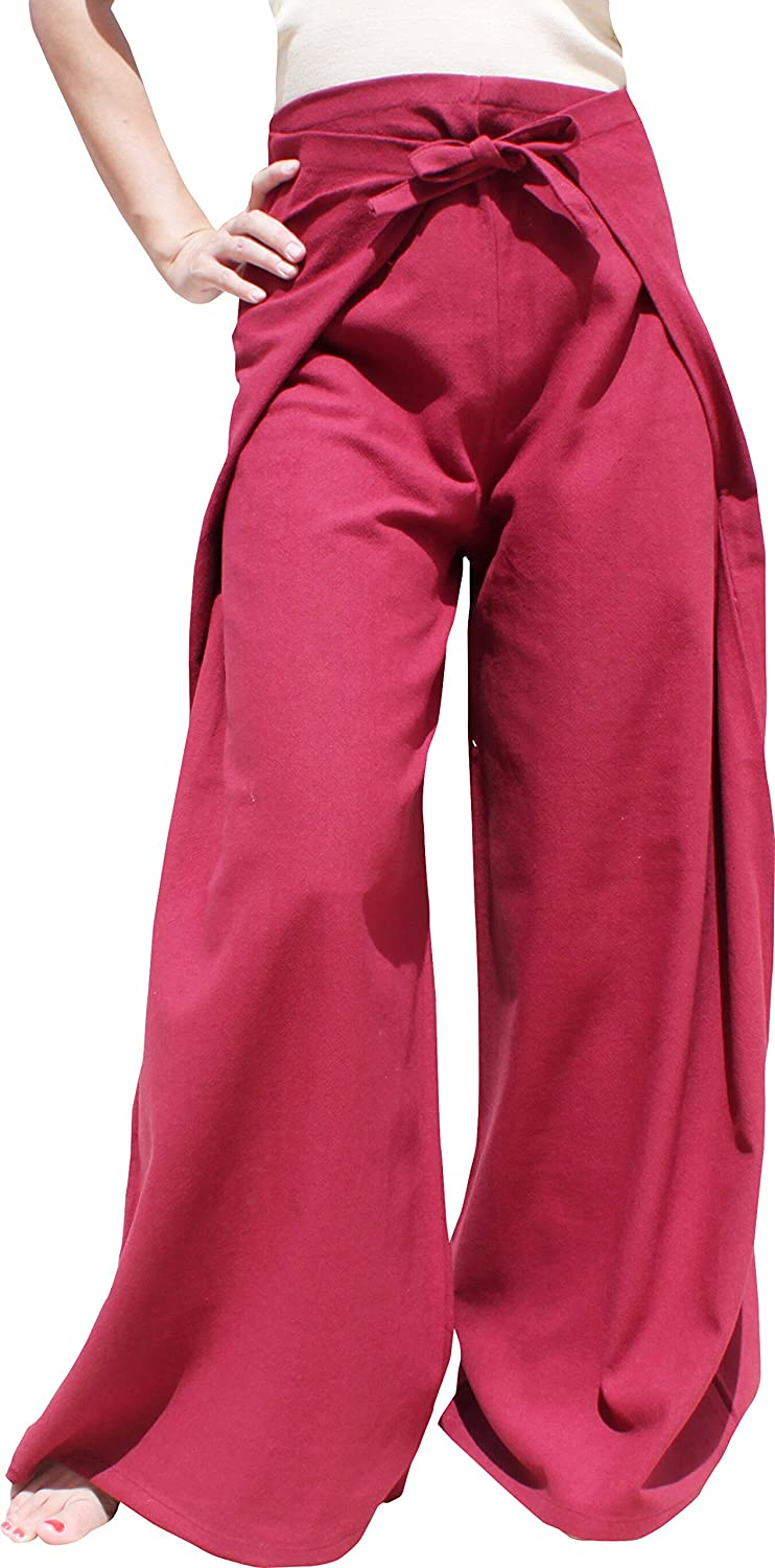 Muang Cotton  Burgundy Red RaanPahMuang Wide Leg Wrap Waist Tied Casual Toraijin Pants in Cottons