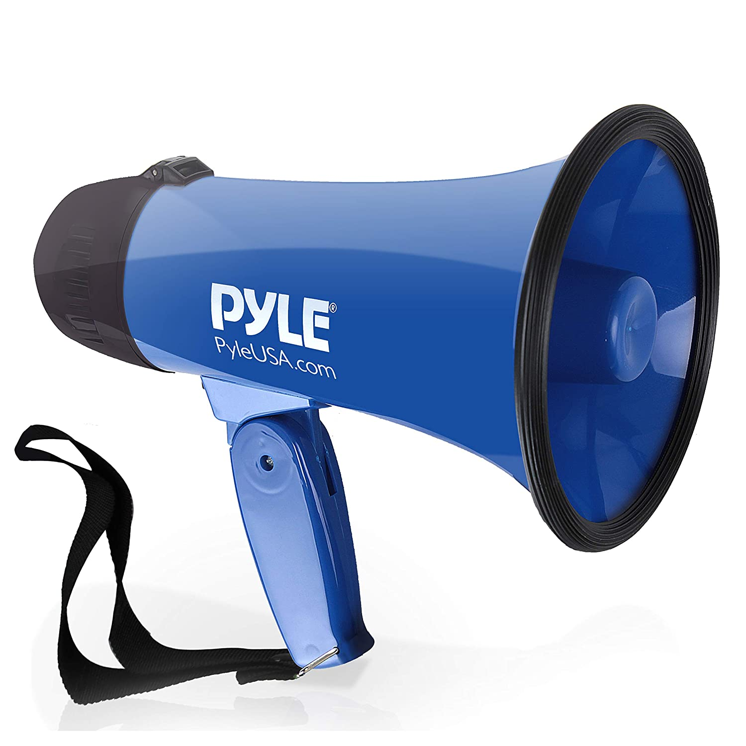 Portable Megaphone Speaker Siren Bullhorn - Compact Battery Operated 20 Watt Power, Microphone, 2 Modes, PA Sound Foldable Handle Cheerleading Police Use - Pyle PMP21BL (Black) Sound Around