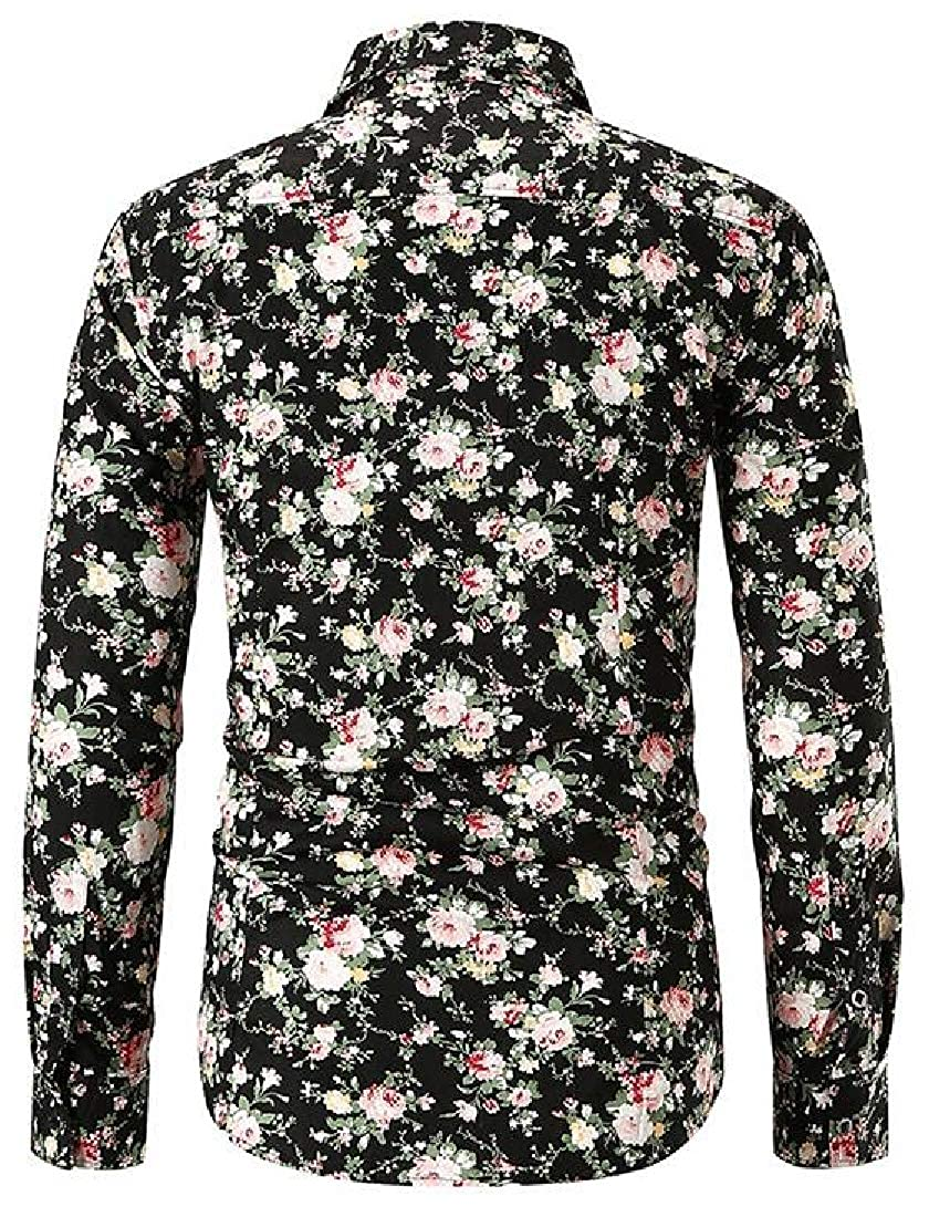 Fubotevic Mens Button Down Business Floral Print Long Sleeve Dress Shirts