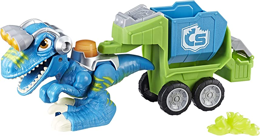 Chomp Squad Playskool Raptor Compactor, Raptor Dinosaur Figure with Trash Compactor Accessory, Garbage Truck Toy for Kids 3 Years and Up (Amazon Exclusive)