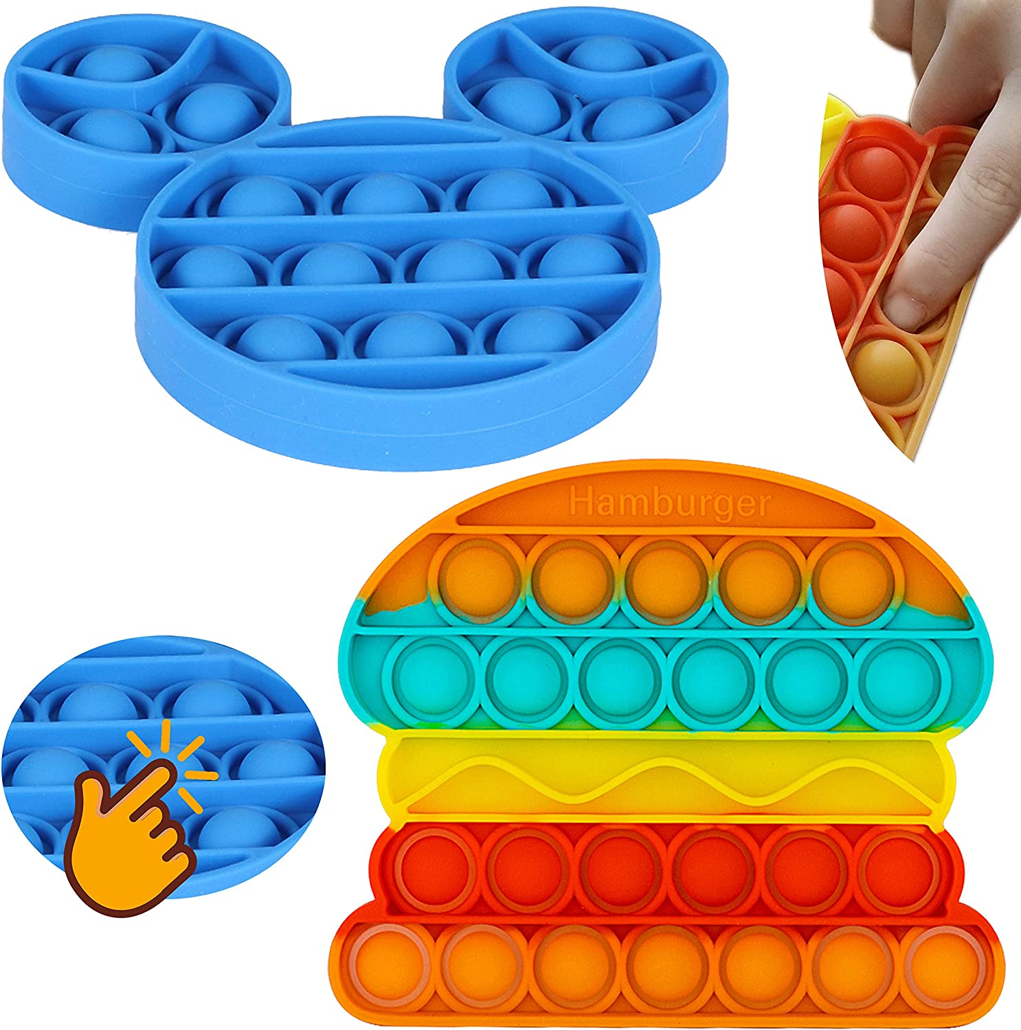 OpenMind Push Pop Bubble Fidget Squeeze Sensory Toy Special Needs Anxiety Stress Reliever 2Pcs Set of Colorful Burger and a Blue Mouse for Kids, Family, & Friends Silicone Bop-It Game Bubble Popper