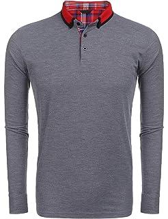 4b7d064113 Kisshes Herren Poloshirt Slim Fit Langarmshirt in Schwarz Weiss Grau, Polo  Shirt Casual Pullover Sweatshirt