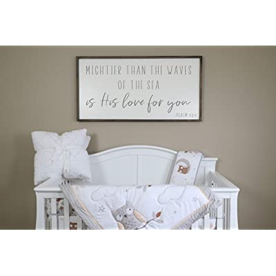 Flowershave357 Mightier Than The Waves Wood Sign Nursery Decor Nursery Wall Art Scripture Nursery Sign Farmhouse Sign Above Crib Sign Kids Room Decor: Kitchen & Dining
