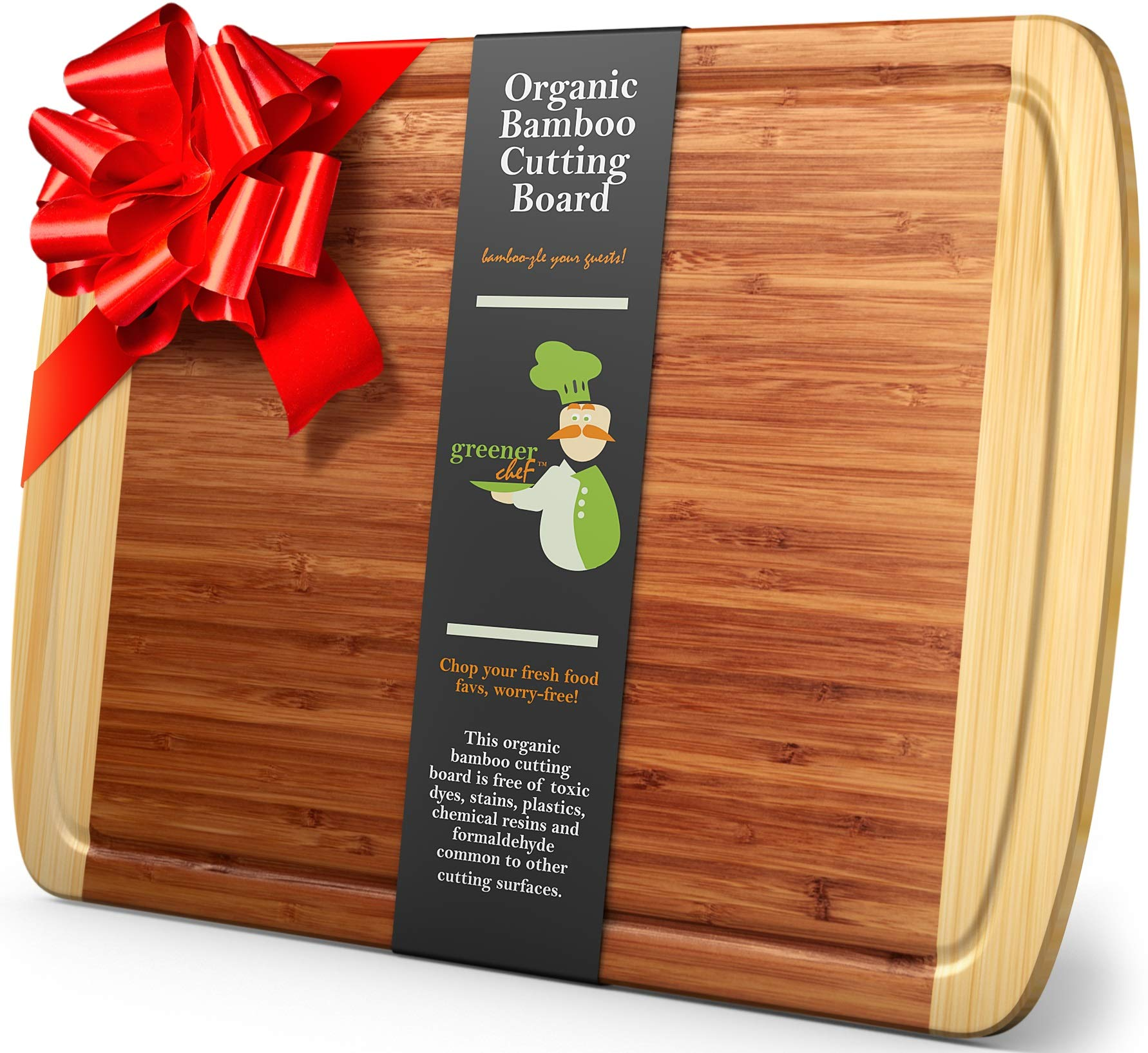 Greener Chef Extra Large Bamboo Cutting Board - Lifetime Replacement Cutting Boards for Kitchen - 18 x 12.5 Inch - Organic Wood Butcher Block and Wooden Carving Board for Meat and Chopping Vegetables by Greener Chef