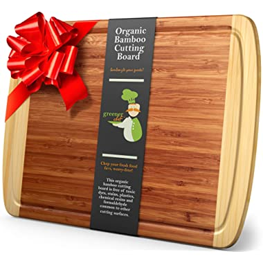 Greener Chef Extra Large Bamboo Cutting Board for Kitchen - Lifetime Replacement Boards - 18 x 12.5 Inches - Organic Wood Butcher Block and Wooden Carving Board for Meat and Chopping Vegetables
