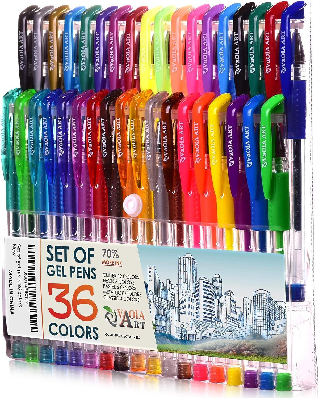 60 x Gel Pens Shine Sparkled GLITTER METALLIC NEON Gel Pens 0.7 mm FINE Tip