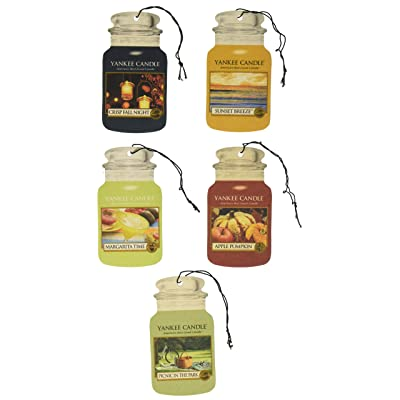 Yankee Candle Classic Paper Car Jar Hanging Air Freshener Assorted Variety- 5 pack: Automotive