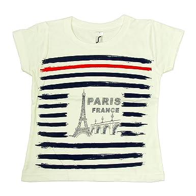 Souvenirs de France - T-Shirt Enfant Paris  Marin  - Blanc  Amazon.fr   Vêtements et accessoires bf3579e66c77