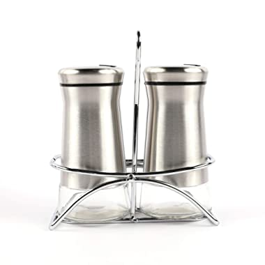 """Houseables Salt And Pepper Shakers, Stainless Steel Dispenser With Stand, 4.5"""" x 2"""", 3 Piece Set, Silver, Glass, Refillable Bottle, For Cooking, Spice, Dry Rub, Sea Salts, Seasoning, Restaurant"""
