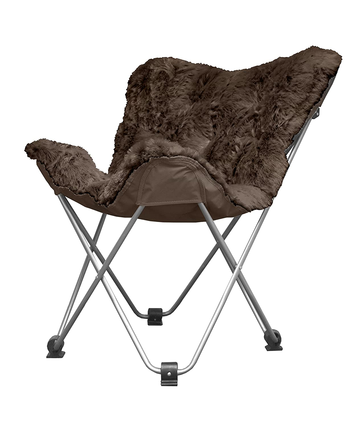 Urban Shop Mongolian Faux Fur Butterfly Chair - Brown