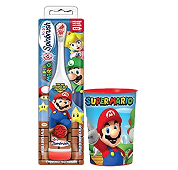Nintendo Super Mario Brothers Kids Turbo Powered Spin Toothbrush & Super Mario Mouth Wash Rinse Cup
