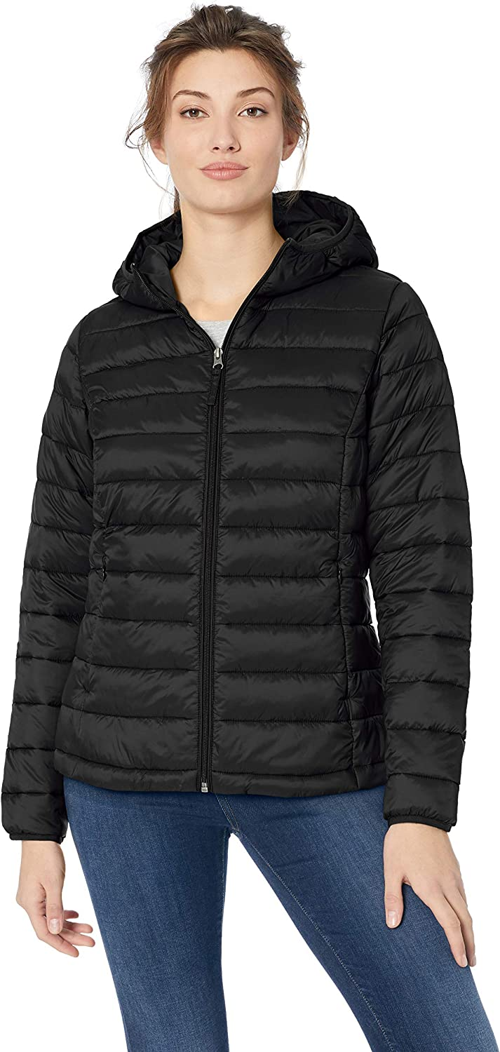 Essentials Women's Lightweight Long-Sleeve Full-Zip Water-Resistant Packable Hooded Puffer Jacket: Clothing