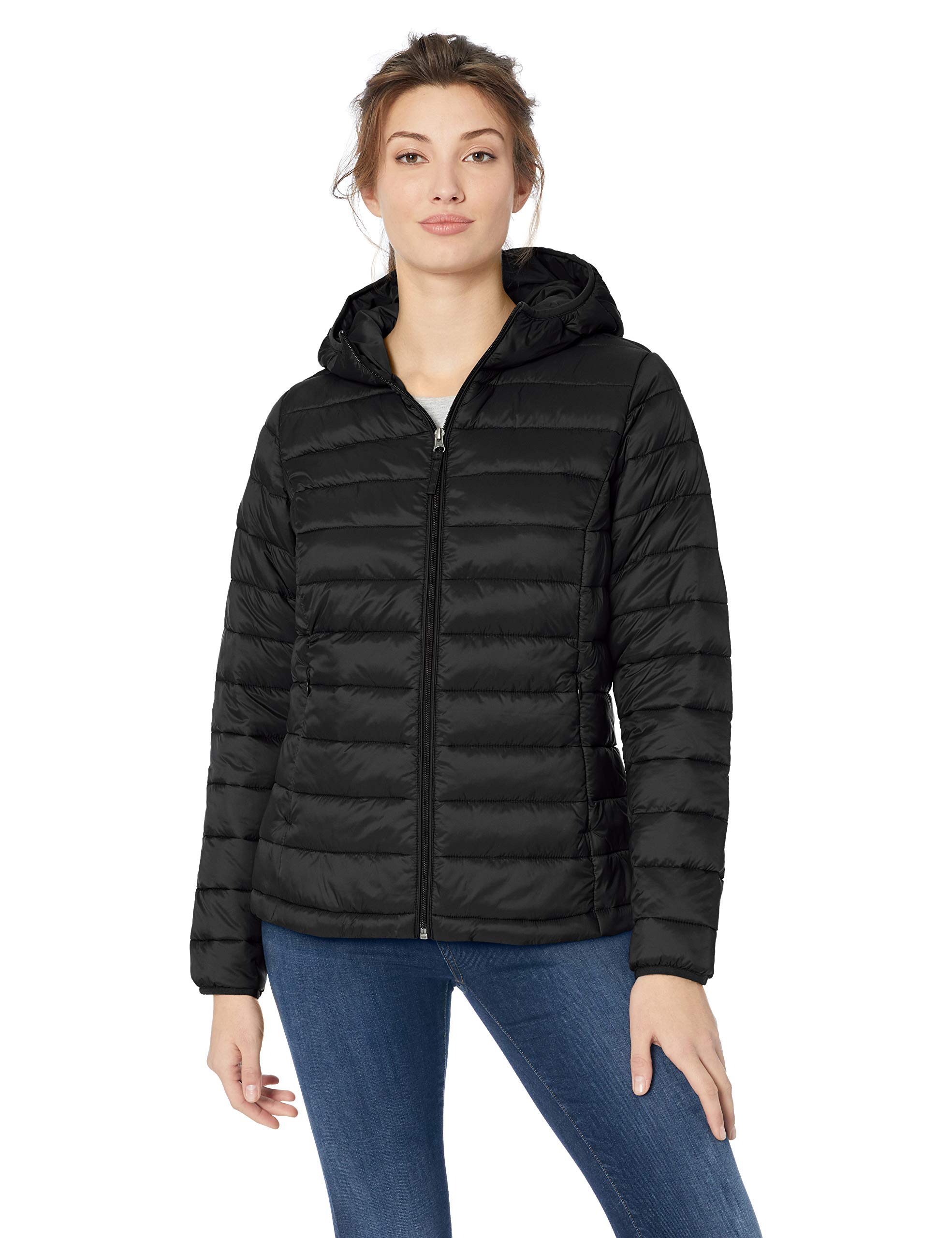 Amazon Essentials Women's Lightweight Water-Resistant Packable Hooded Puffer Jacket, Black, Medium by Amazon Essentials