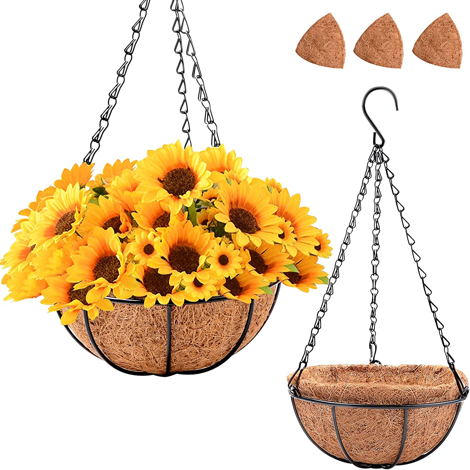 Hakkax Hanging Pot for Plants, Self Watering Hainging Planter 8 Inch, 4 Pack Metal Hanging Flower Basket with 7 Pieces of Coco Coir Liner for Outdoor Porch Balcony Garden Decoration