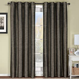 Royal Hotel Geneva Multi-Layer Gray-Silver Grommet Blackout Window Curtain Panel, Lined-Stripe Pattern, 52x96 inches