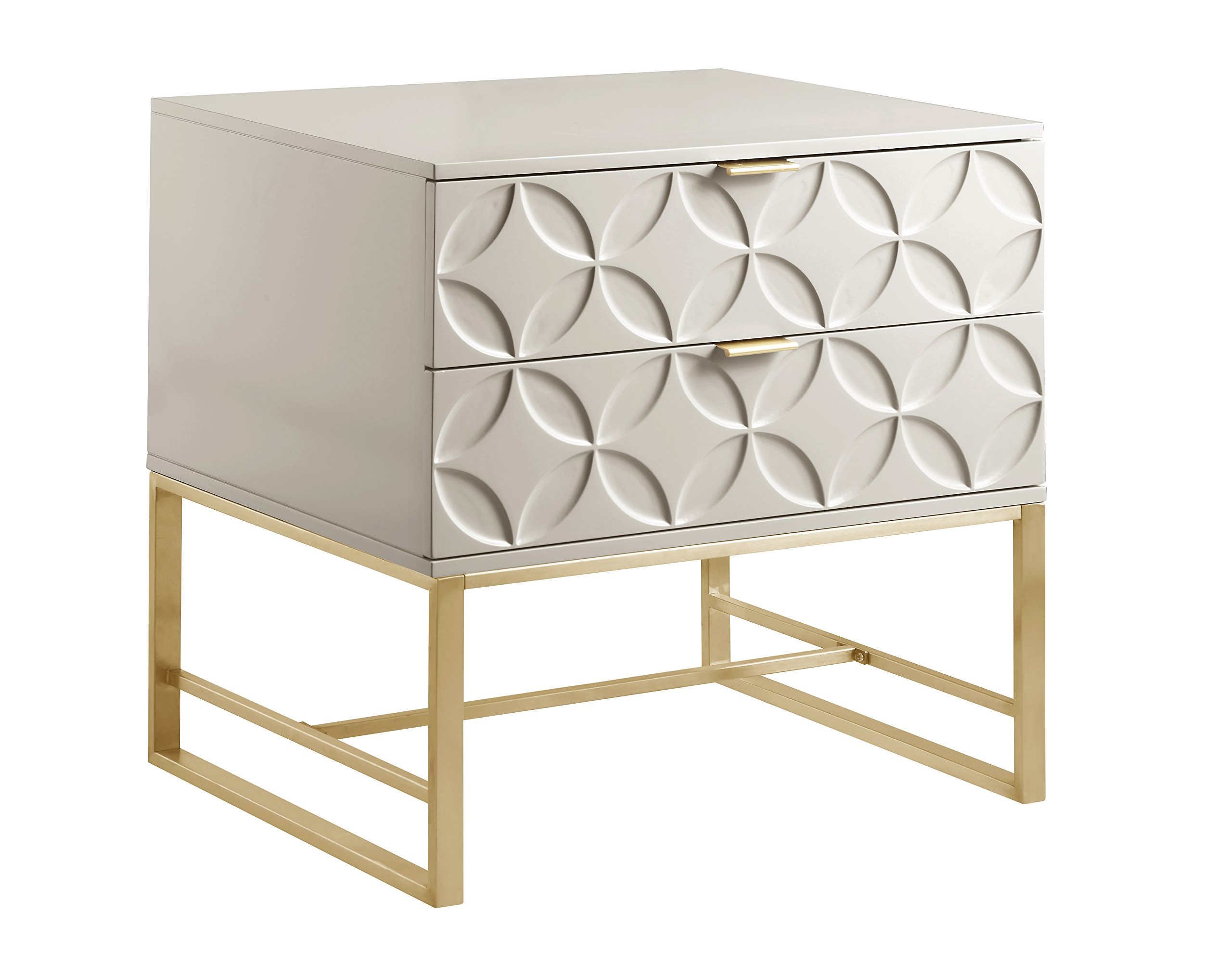 Iconic Home Mantau Nightstand Side Table with 2 Self Closing Lacquer Drawers Brass Finished Stainless Steel Frame Base, Modern Contemporary, Beige by Iconic Home (Image #3)