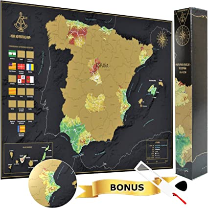 Your Adventure Mapa España Para Rascar (65 x 42) – Regalo Curioso ...