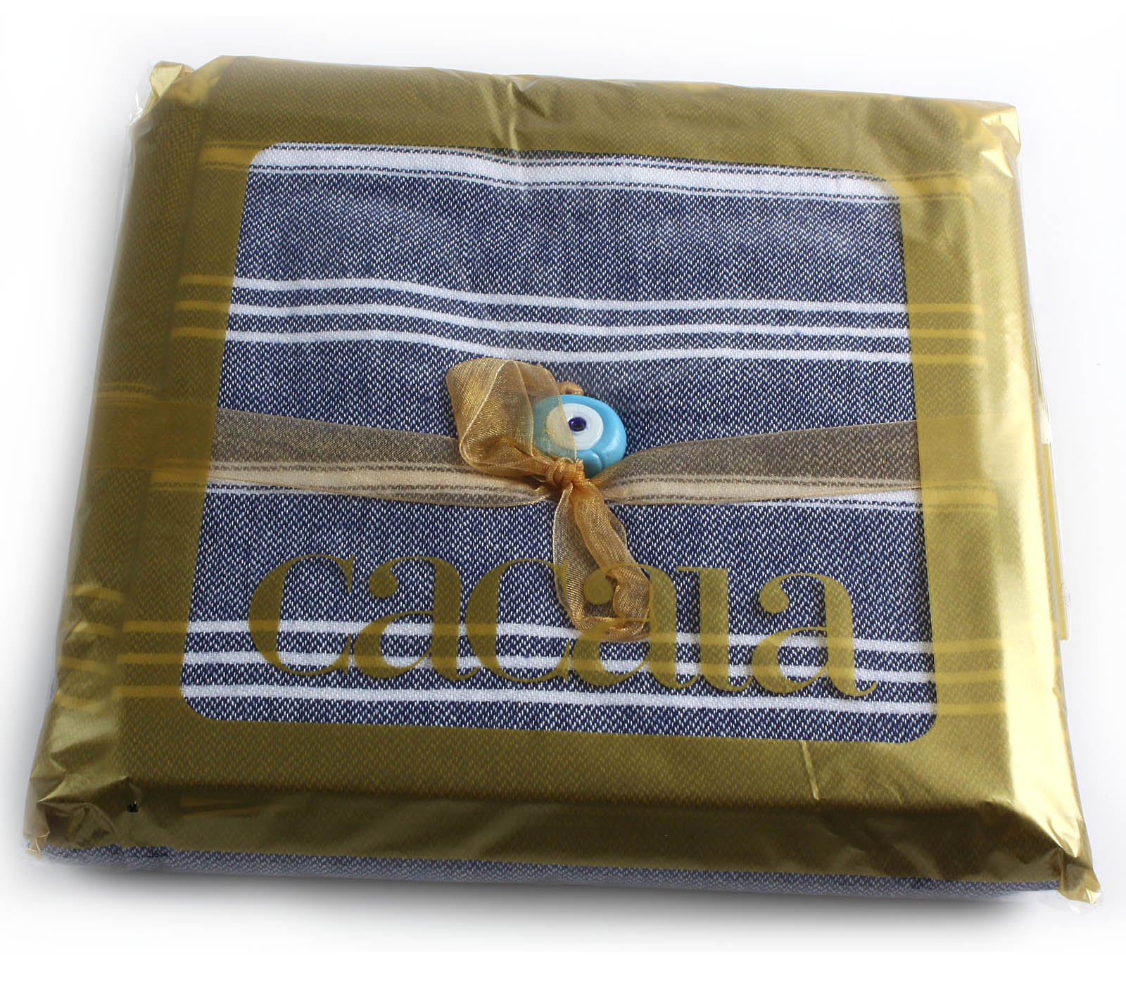 Cacala 100% Cotton Pestemal Turkish Bath Towel, 37 x 70, Dark Blue by Cacala (Image #2)