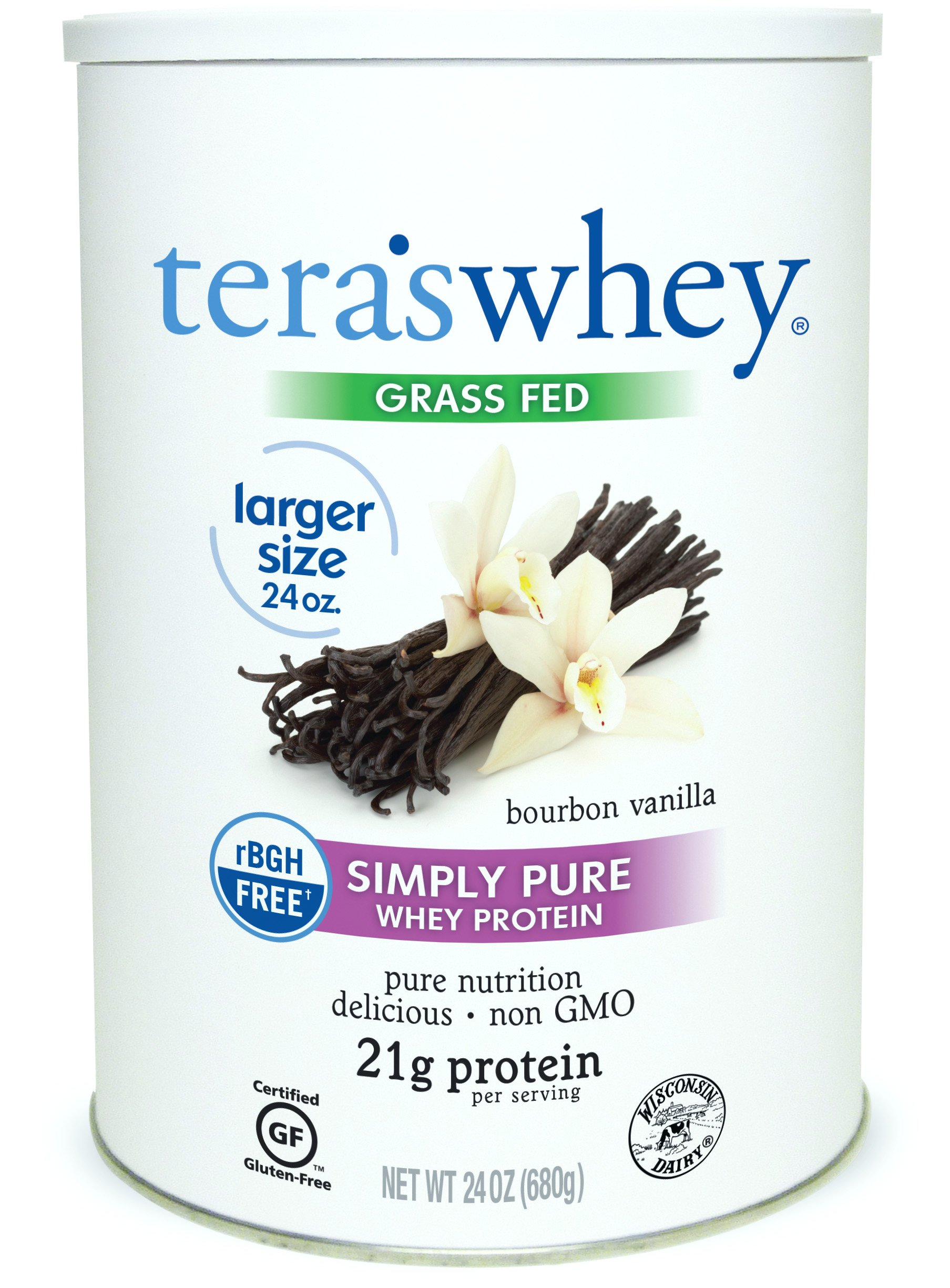 Teraswhey Simply Pure Whey Protein, Bourbon Vanilla, 24 oz